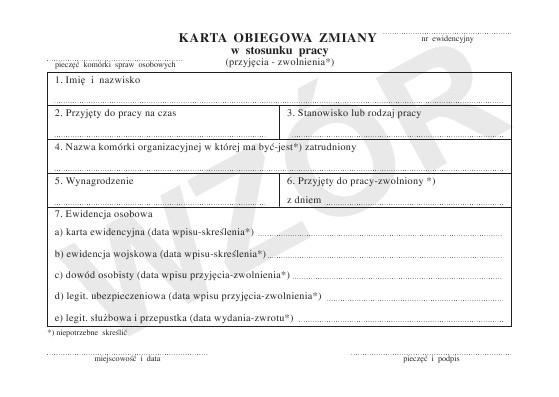 Karta Obiegowa Zmiany W Stosunku Pracy Remi Artykuly Biurowe