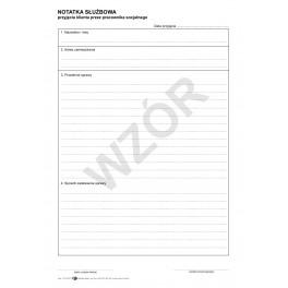 Notatka służbowa przyjęcia klienta przez pracownika socjalnego