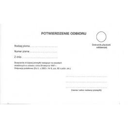 Potwierdzenie odbioru pisma OP - kartonik z paskami samoprzyl. + perforacja