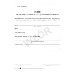 Wniosek o przeprowadzenie badania do celów sanitarno-epidemiologicznych